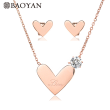 BAOYAN Big Love Heart Bridal Jewelry Sets Luxury Cubic Zirconia Wedding 316L Stainless Steel for Women