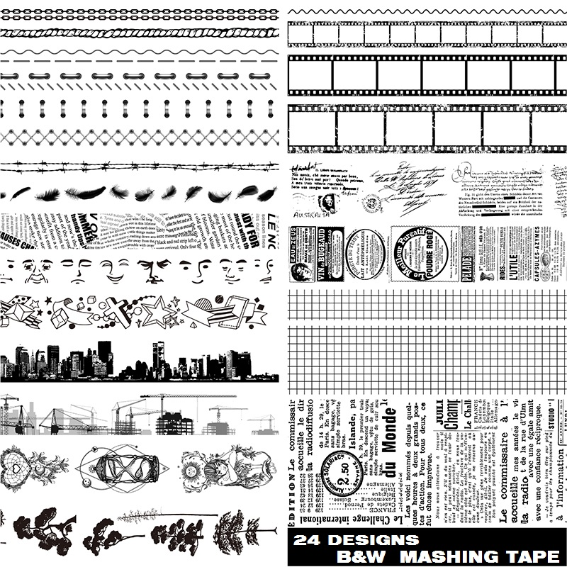 24Designs B&W 10/15/40mm Film/Face/Tree/City/Newspaper/Line Pattern Japanese Washi Decorative Adhesive DIY Masking Paper Tape
