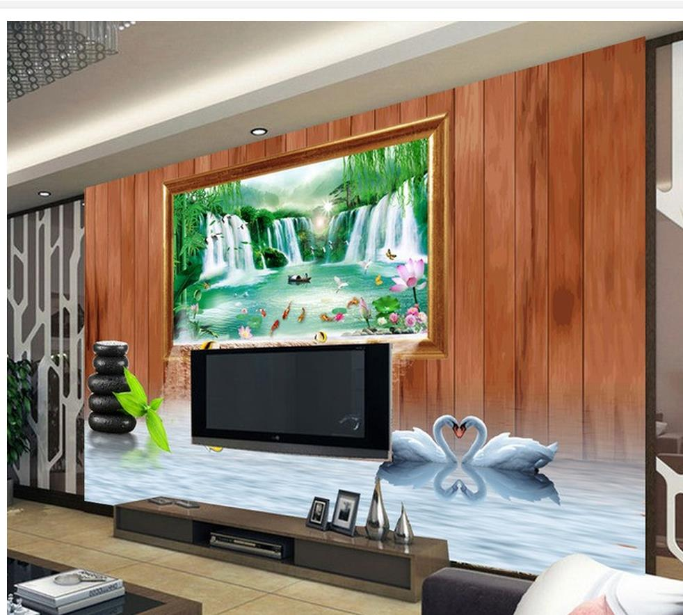 custom 3d photo wallpaper 3d waterfall frame tv backdrop mural 3d paintings home decorationchina