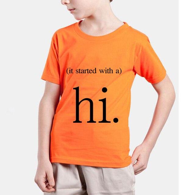 cute hi letter print white kids t shirts 2018 new fashion summer brand clothing baby girl clothes streetwear tops tee boys shirt