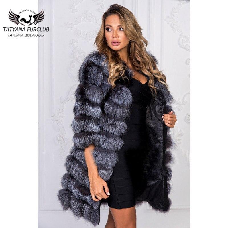 De Manteau Outwear Hiver 2018 Pour Rond Renard Doux Argent Tatyana Pleine Peau Col Vente Dames Manteaux Chaud Fourrure Avec Chaude O1fwatWBq