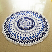 150cm Tassel Geometric Pattern Bath Towel Microfiber Round Beach Towel Summer Women Sandy Swimming Sunbath Baby