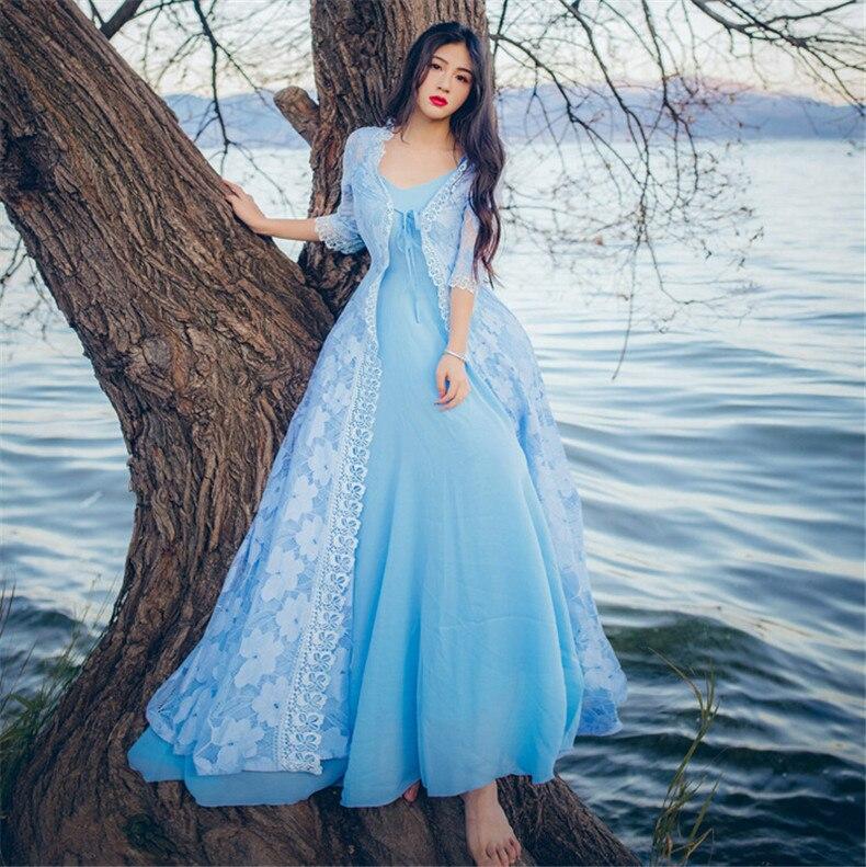 2019 Été Mode Robe Loisirs Élégant Broderies Avec Printemps Bleu Femmes Chemise Décontracté Évider SSdvrqw