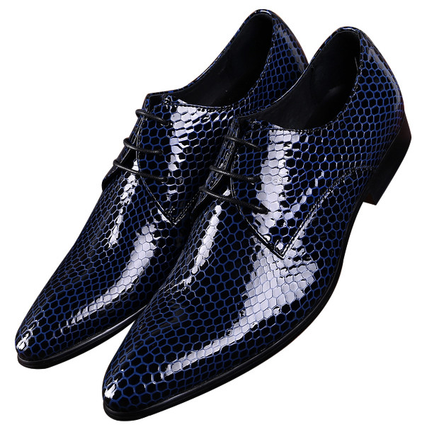 NEW Black / Blue Classic Serpentine Pointed Toe Business Shoes Mens Dress Shoes Patent Leather Wedding Shoes Male Prom Shoes mycolen mens shoes round toe dress glossy wedding shoes patent leather luxury brand oxfords shoes black business footwear