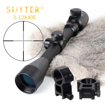 SUTTER 3-12 X 40 Reticle Red Green Rifle Scope Tactical Optical Sight RifleScope