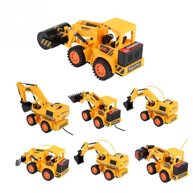 Wireless Wired Rc Excavator Construction Digger Abs Remote Control Electric Toy Truck Kids Car Great Gift For