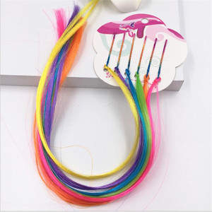 6pcs/set Girls Rainbow Hair Clips Twist Wig Hairpins Bohemian Braid Headband for Kids Boutique Butterfly Hair Clip Accessories(China)