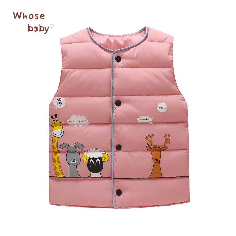 2017 Winter Girls Boys Down Jacket Toddler Cartoon Warm Vest Fashion Kids Waistcoat Infant Snowsuit Cardigan Children Clothing russia winter boys girls down jacket boy girl warm thick duck down