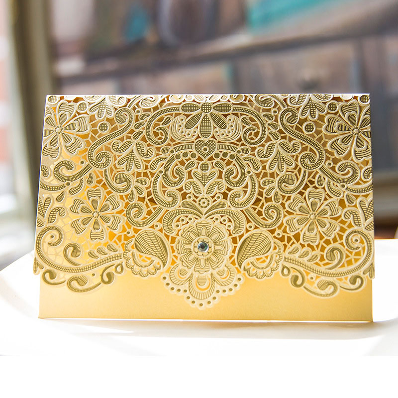 Red And Pink Wedding Invitations: 50pcs Gold Red Pink Wedding Invitation Cards Blank Emboss