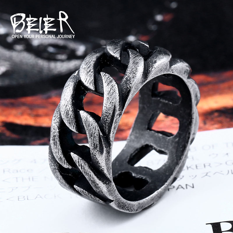 Beier new store 316L Stainless Steel high quality ring Gothic chain ring personality retro  Fashion jewelry LLBR8-175R