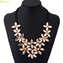 Diomedes Kolye Newest Women Sexy Flower Ribbon Chain Short Black Necklace Pendant Crystal Choker Chunky Collar Jewelry Necklace