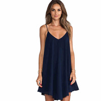 Best Sellers V Lead Easy Chiffon Camisole Sexy Mini Back Crossing Casual Dress