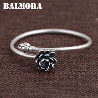 BALMORA Solid 990 Pure Silver Lotus Flower Open Bangles For Women Lover Gifts Bracelet Silver Jewelry