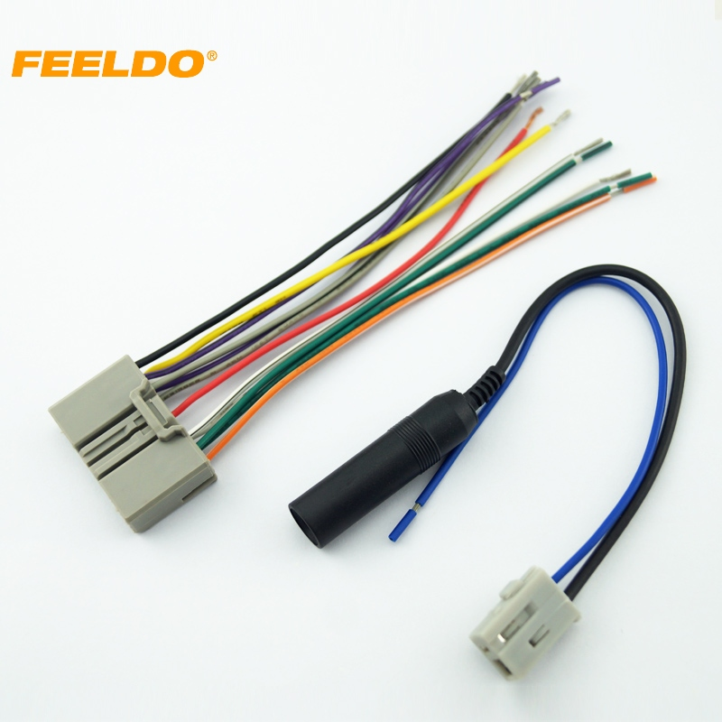 Feeldo 5set Car Audio Cd Player Radio Stereo Wiring Harness Antenna Adapter Plug For Honda Civic