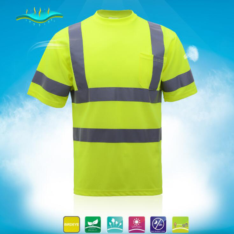 High visibility work T-shirt breathable reflective mining safety shirt hygroscopic and sweat releasing fluorescence yellow high visibility