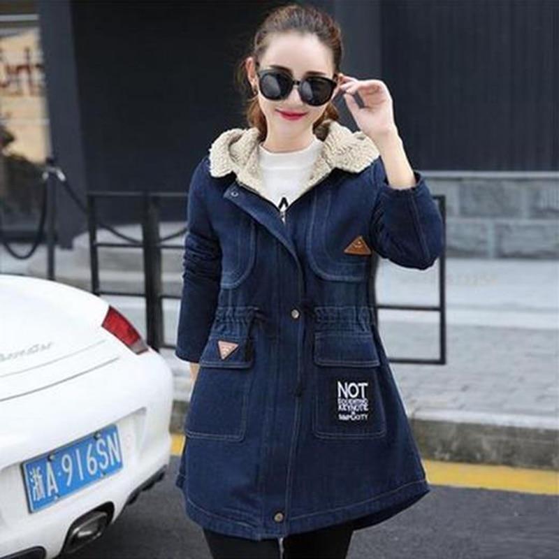 2019 Winter Hot Sale Women New Thicken Loose Denim Jacket Mid-long Section Slim Cotton Jacket Fashion Warmth Hooded JacketDD073