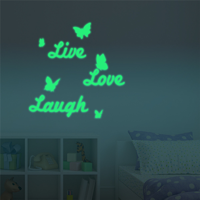DIY Live Love Laugh Mural Stickers Inspiring Quote Luminous Removable  Fluorescent Wall Paper For Living Room