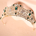 2016 New Baroque gold dark green rhinestone aristocratic nobility bride crown headdress bride tiaras e coroas