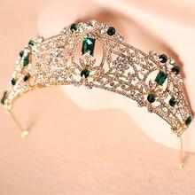 2016 Nueva nobleza aristocrática Barroco oro verde oscuro rhinestone corona de la novia del tocado de la novia tiaras e coroas