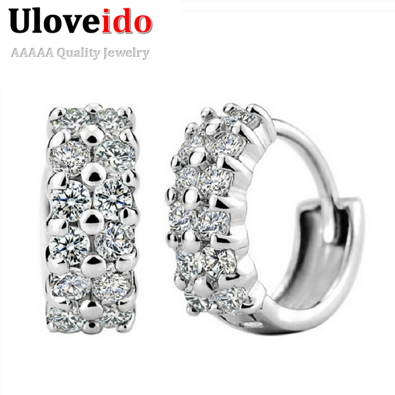 Uloveido 5% Off Crystal Earring for Women Aretes Sale Silver Jewelry Earings Wedding Decorations Stud Earring Fianit 2017 Y043