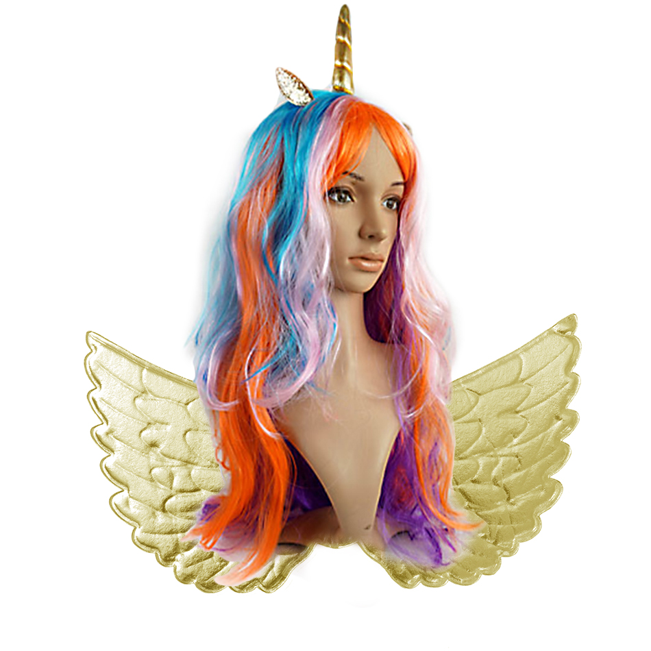 Colorful Unicorn Wig Headbands Wings For Girls Kids Long Fake Hair Cosplay Cartoon Accessories Children Unicorn Party Supplies