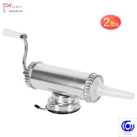 1KG / 2LBS Horizontal Manual Type Meat Sausage Stuffer With Suction Base Homemade Filler Syringe Aluminum Salami Maker Machine