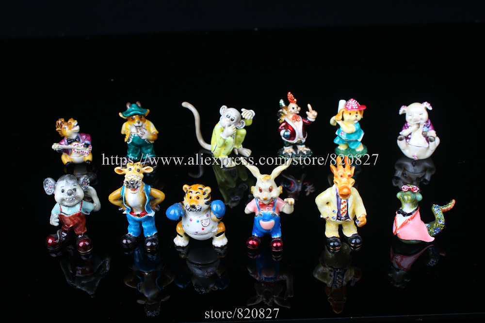 Enamel Craft Trinket Box 12 Animals Chinese Zodiac set Trinket Boxes Home Decoration Business Gifts Feng Shui ZodiaFree Shipping sgodde chinese lucky waving gold cat figure with moving arm in colourful box feng shui outdoor hammock