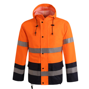 Image 2 - Orange safety rain jacket reflective Polyester Waterproof  rain suit workwear New free shipping