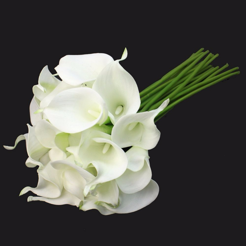 White pu calla lily flowers decorative flowe artificial real touch white pu calla lily flowers decorative flowe artificial real touch flowers calla lily bouquet wedding decoration party supplies in artificial dried izmirmasajfo