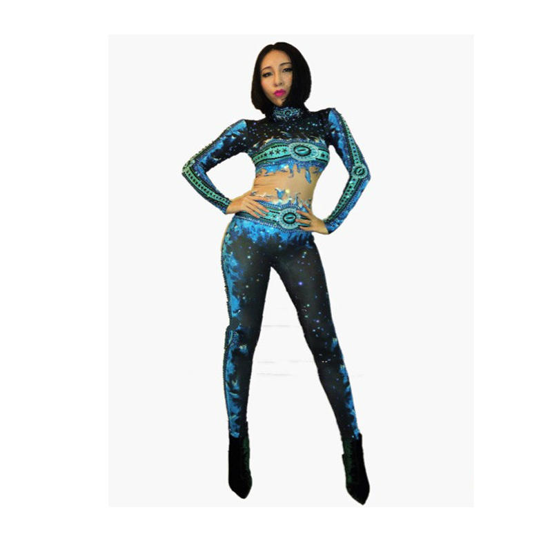 Usure 3d Bleu Célébrez Flamme Strass Imprimé De Spectacle Sexy Brillant Femmes Performance Danse Outfit Body Combinaison Nouveau 7qxt5wqF