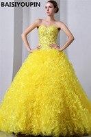 Sweet Sixteen Dresses Vestidos De 15 Anos Princesa 2020 Yellow Organza Princess Ball Gown Quinceanera Dresses