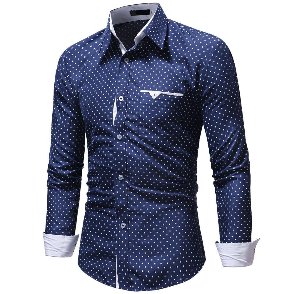 Fashion Men's Autumn Casual Shirts 2019 Long Sleeve Turn Down Collar Formal Polka Dot Slim Fit Long Sleeve Dress Shirt Top Blous