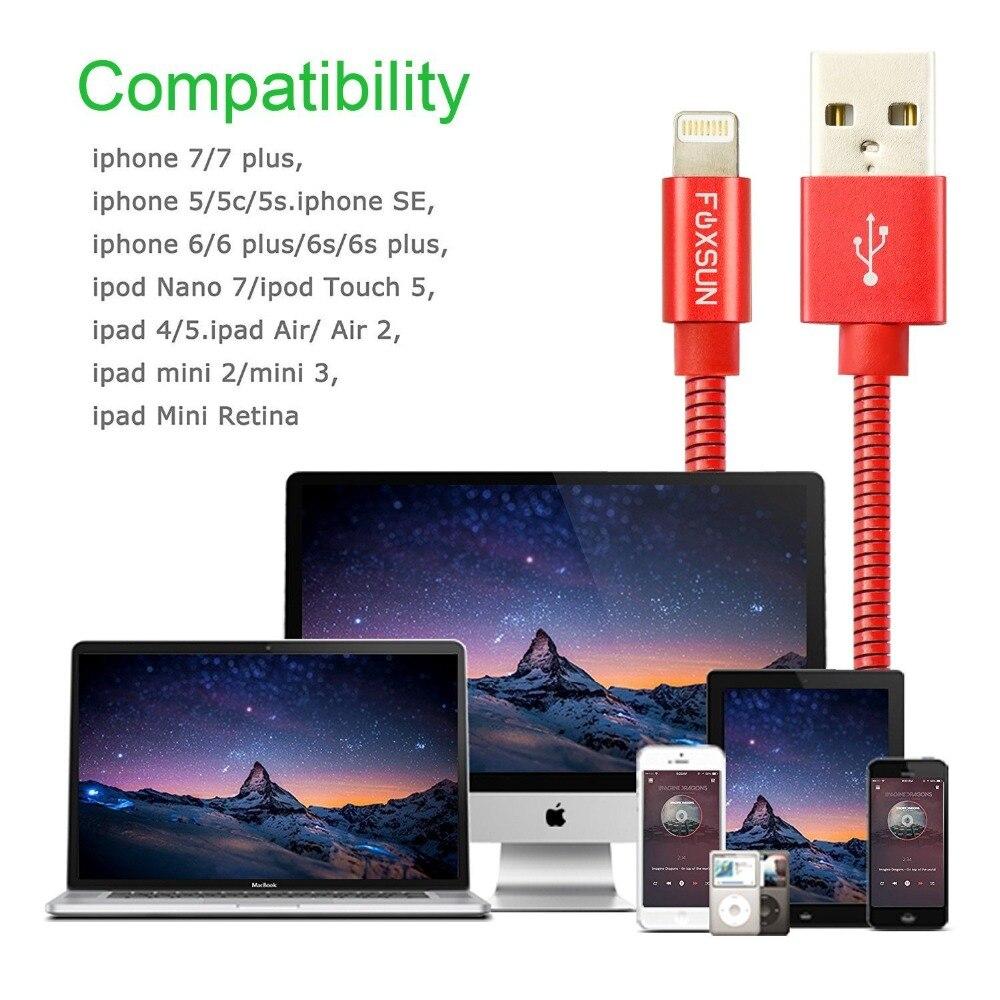 Foxsun металл для iPhone Зарядное устройство прочный кабель 3.3FT/1 м для кабель Lightning/USB, синхронизации и зарядки Шнур для iPhone X/8/7/6/5