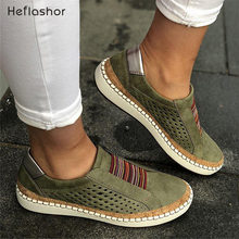 HEFLASHOR Sneakers Women Vulcanize Shoes Casual Breathable Shoes Female Soft Leather Flats Ladies Sneakers(China)