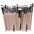 20 Unids Pinceles de Maquillaje Pro Powder Blush Fundación Sombra de Ojos Delineador de Labios de Oro Kit de Cepillo Cosmético Herramientas de Belleza