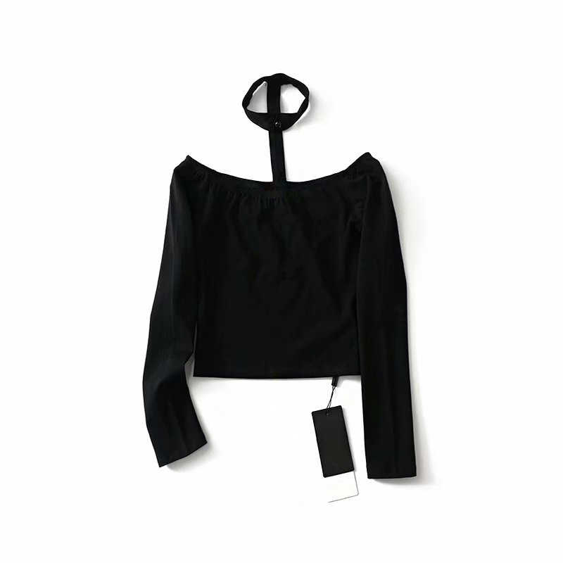 Американский стиль длинный рукав тонкий с открытыми плечами Топ Футболка однотонное черное 2019 весеннее Облегающее с длинными рукавами Холтер Сексуальная укороченная футболка