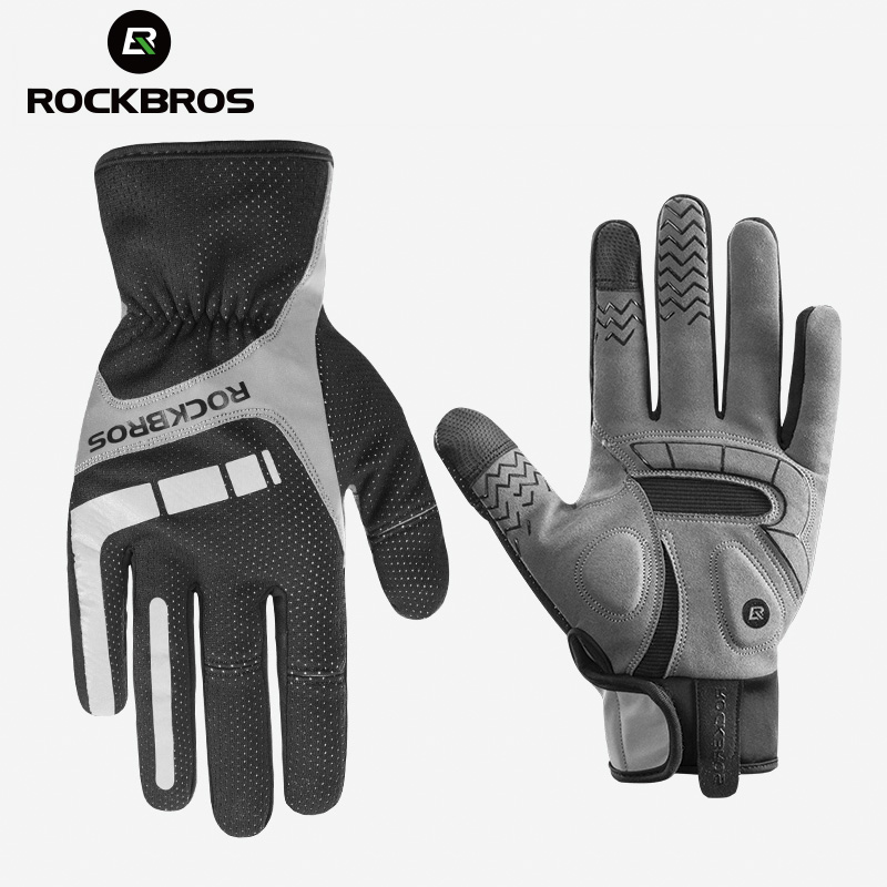 ROCKBROS Bicycle Cycling Gloves Touch Screen Thermal Bike Gloves Windproof Keep Warm Autumn Winter Men Women Thick Sport Gloves rockbros cycling gloves full finger touch screen men women winter warm mtb bike bicycle windproof gloves for smartphone phone