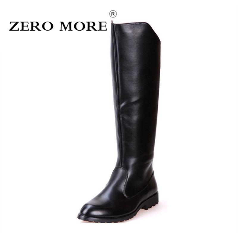ZERO MORE Boots Men British Military Army Honour Guard Motorcycle Riding Equestrian Mens Boots Knee High Casual Zipper Cowboy