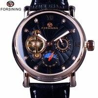 Forsining Fashion Luxury Luminous Hands Rose Golden Men Watches Top Brand Tourbillion Diamond Display Automatic Mechanical