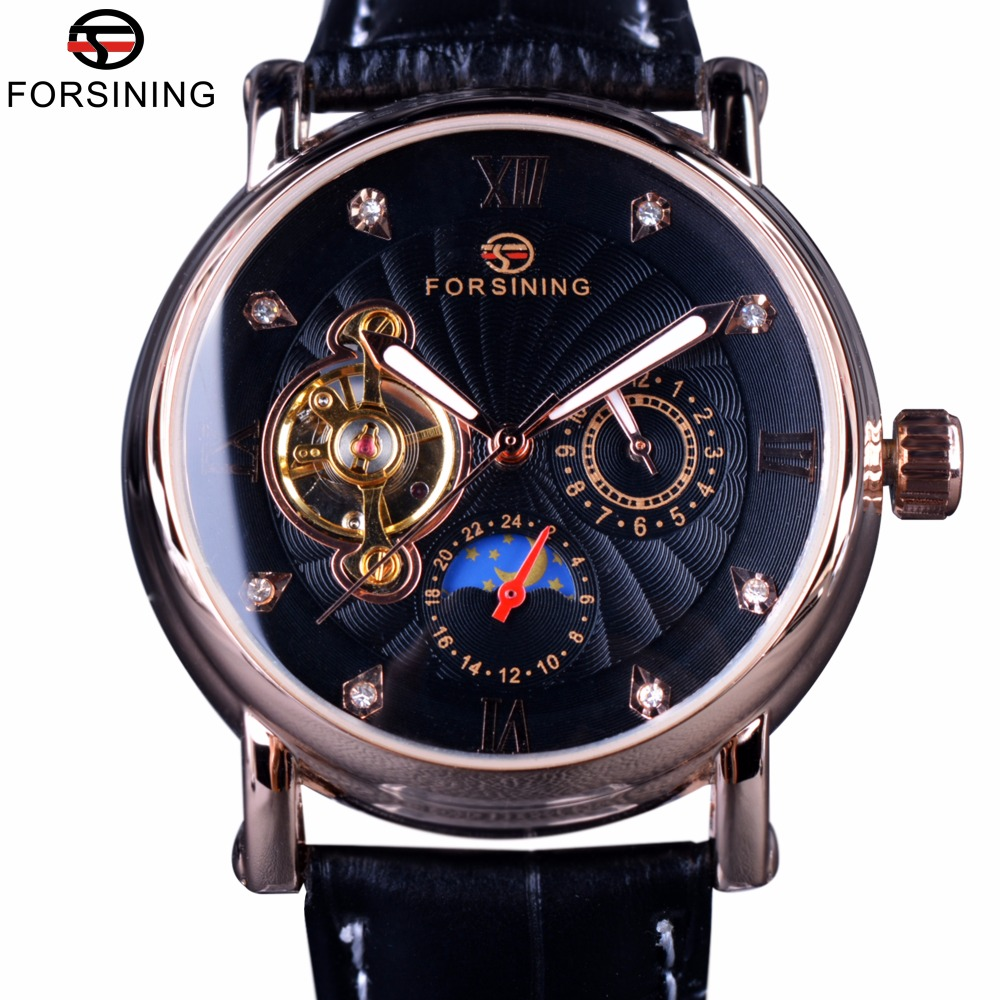 Forsining Fashion Luxury Luminous Hands Rose Golden Men Watches Top Brand Tourbillion Diamond Display Automatic Mechanical Watch forsining date month display rose golden case mens watches top brand luxury automatic watch clock men casual fashion clock watch