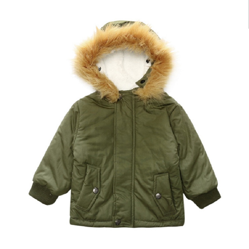 Hooyi Dark Green Children Coats Fleece Boy Clothes Winter Thick Outfits Kids Hooded Wool Blends Baby Boy's Down Jacket Outerwear