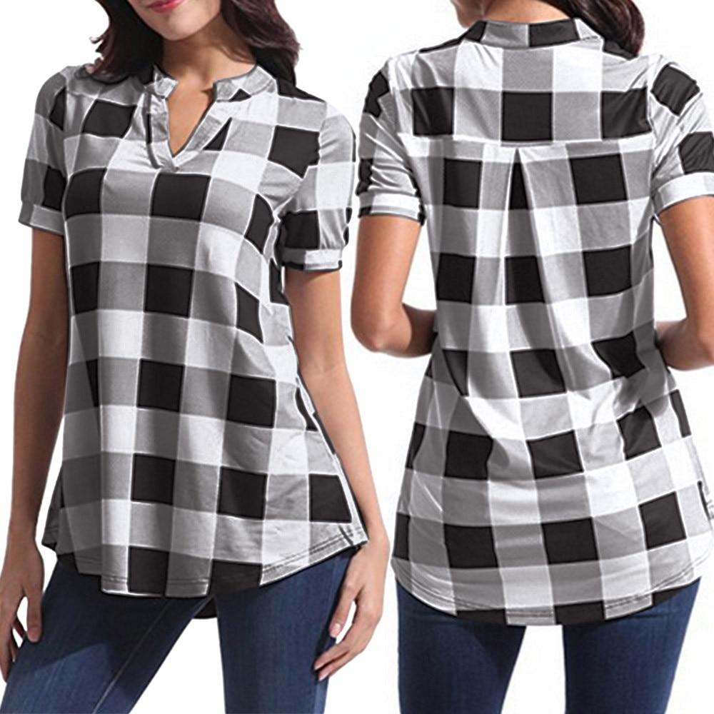 Womens V Neck Plaid Print Blouse Tops Short Sleeve T Shirts Plus Size Tunics