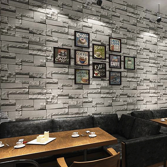 Us 18 5 36 Off Bacaz Grey 3d Bricks Wallpaper Roll For Walls Restaurant Barbershop 3d Stone Wall Paper Roll 3d Wall Coverings Stickers In Wallpapers