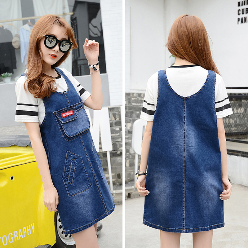 2018 Summer Autumn Pregnant Women Fashion Loose O Neck Sleeveless Pockets Vintage Denim Jeans Dress Maternity Jeans Tanks Dress bohemian scoop neck sleeveless women s ombre dress