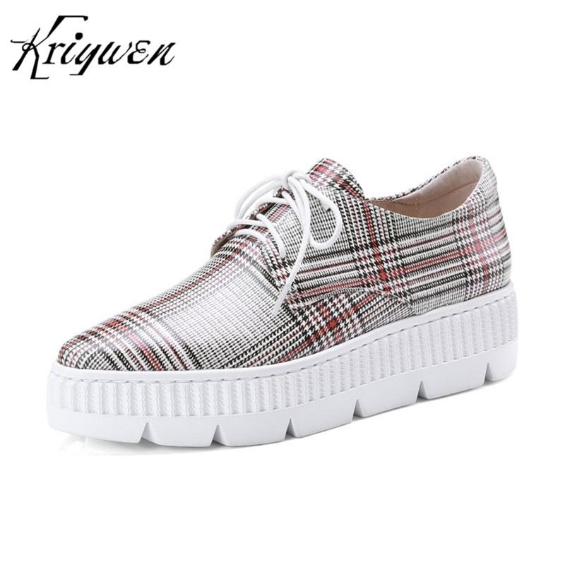 100% Natural Cow Leather Women Flat Platform Checkered Woman Casual Cross-tied Flats Lady Leisure Party Shoes Chaussures Femmes 100% natural