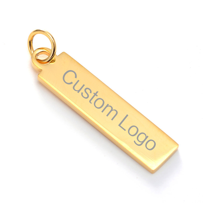 Personalized Custom Stainless Steel Bar Pendant Rectangular Pendants Laser Engraved Lettering Pendant for Womens Gift Qi Qi Wu in Charms from Jewelry Accessories