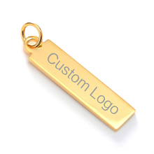 Personalized Custom Stainless Steel Bar Pendant Rectangular Pendants Laser Engraved Lettering for Womens Gift Qi Wu