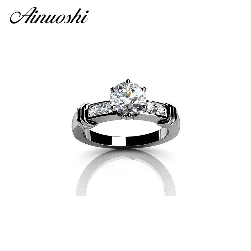 AINOUSHI Design 925 Silver Sona Shinning Jewelry Luxury Women Classic 1 Carat Round Cut Wedding Romantic Rings