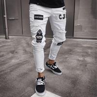 2019 Men Stylish Ripped Jeans Pants Biker Skinny Slim Straight Frayed Denim Trousers New Fashion Skinny Jeans Men Clothes