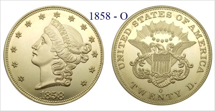 US $1 45 42% OFF|United States 20 Dollars Gold Coins 1858 1858 O 1858 S  Liberty Head Double Eagle without motto TWENTY D  Brass replica coins-in